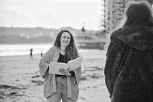 Sian Jackson Celebrant laughing on Swansea Bay