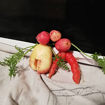 Two people make out of vegetables