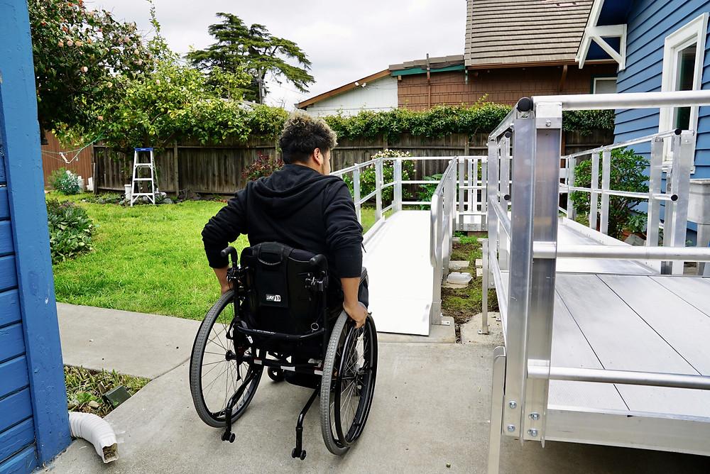 Luis pushing onto his new ramp