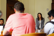 Mayor Schaaf listens to a student's concerns