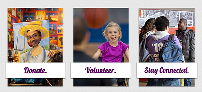 """Image of three ways to """"Get Involved"""": Donate, Volunteer, Stay Connected"""
