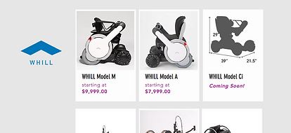 Image of WHILL wheelchair banner/information to showcase AT Products