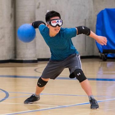 A goalball player