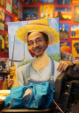 A man poses with a painting