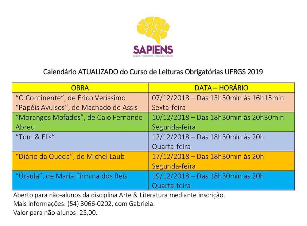 CURSO DE LEITURAS OBRIGATÓRIAS UFRGS