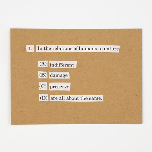 1. In the Relations of Humans to Nature