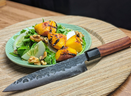 Grilled Peach Salad with Ginger-Miso Vinaigrette