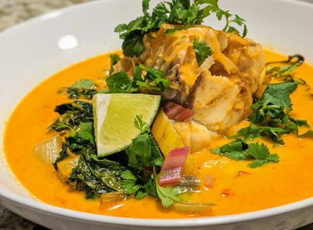 Red Curry Poached Monkfish with Rainbow Chard