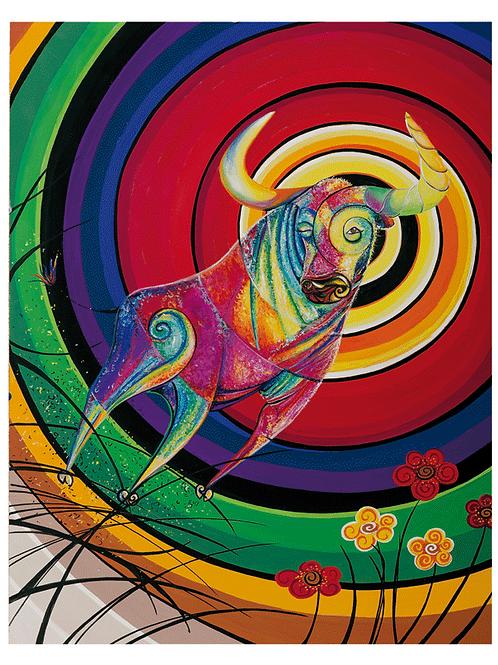 """Sternzeichen Stier - """"Checking Bull"""" 2019 Kunstkarte handsigniert"""