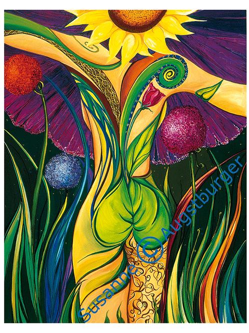 """""""Blumencharakter""""  2003 Kunstkarte handsigniert"""
