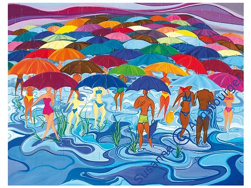 """""""Wasserscheu""""  2004 Kunstkarte handsigniert"""