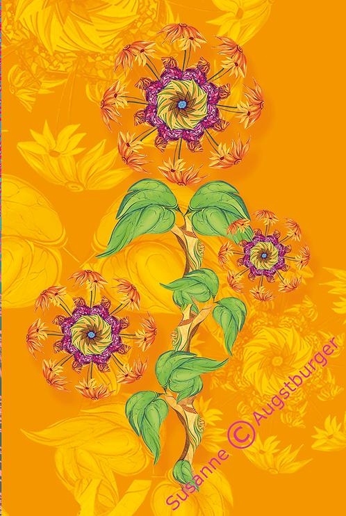 ORANGE FLOWERS Design-Grußkarte