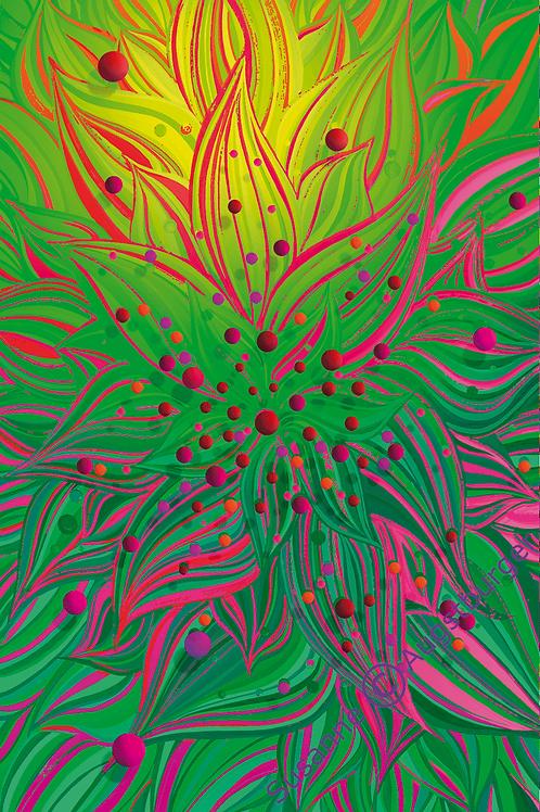 GREEN FLAMES Design-Grußkarte