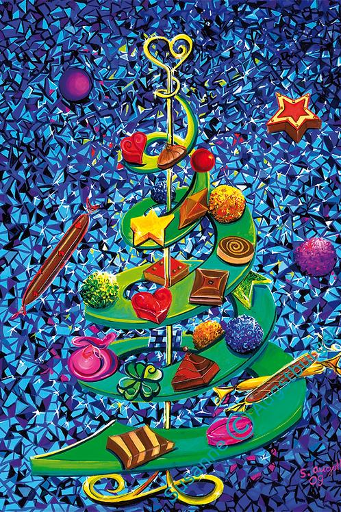 Schokoladenbaum 2009  Weihnachts-Grußkarte