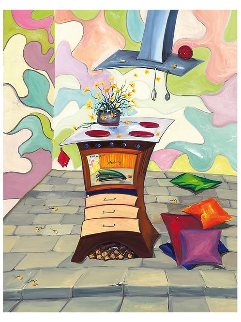 """Kochstudio"" 1999 Kunstkarte handsigniert"