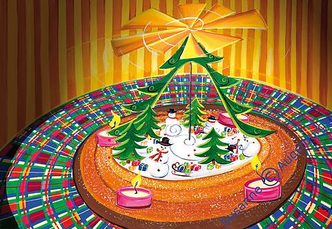 Lustiges Schneemanntreiben  2015 Weihnachts-Grußkarte