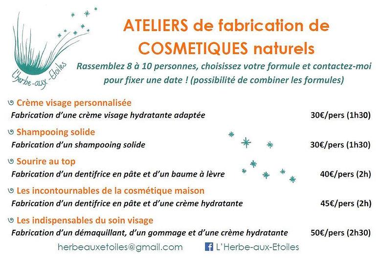 Liste des cours de fabrication de cosmétiques naturels maison