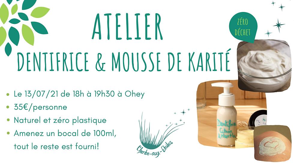Atelier Dentifrice et Mousse de karité 13/07/21