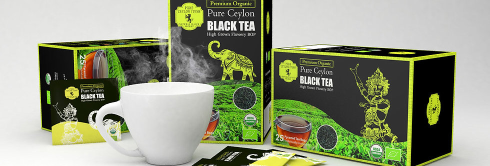 Organic BOP Pure Ceylon Black Tea 25 Bags - NO DUST - REAL TEA LEAVES