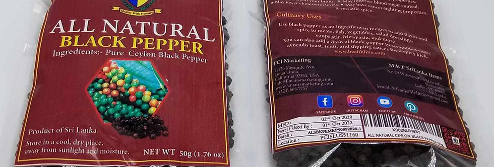 2-pack All Natural Whole Black Pepper - 50g