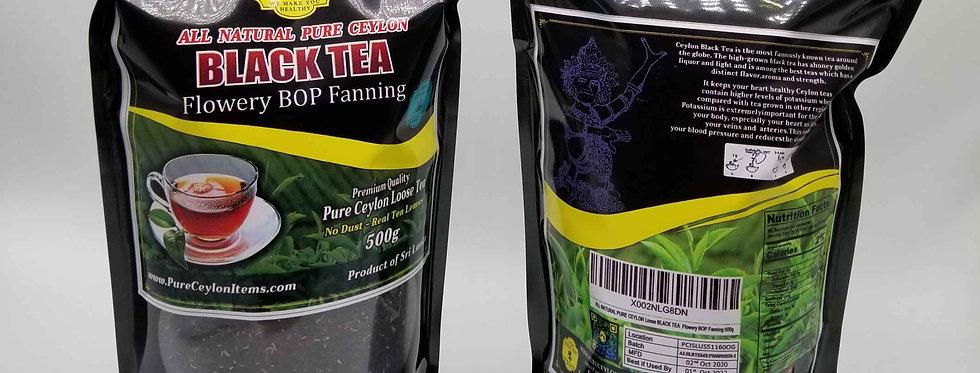 All Natural Loose Ceylon Black Tea 500g  (FBOPF)- NO DUST - REAL TEA LEAVES