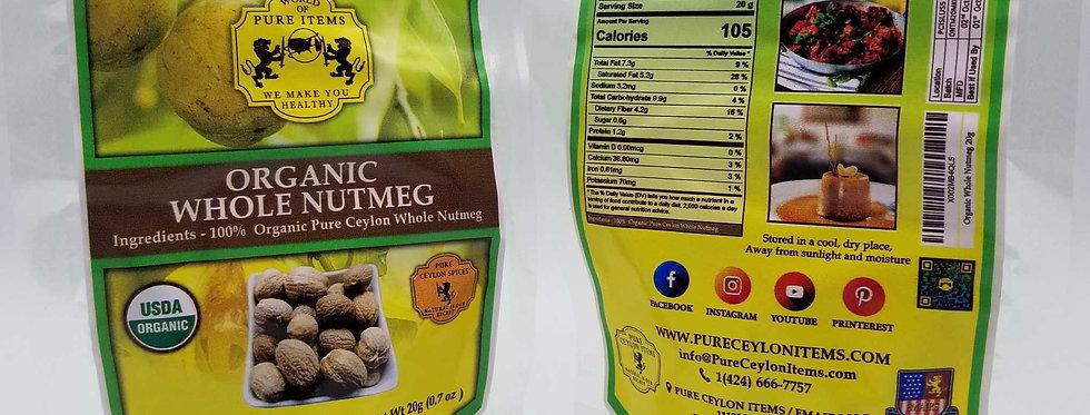 USDA Organic Whole Nutmeg 50g