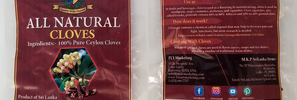 All Natural Whole Cloves 20g
