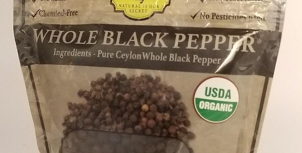 Organic Whole Black Pepper - 100g