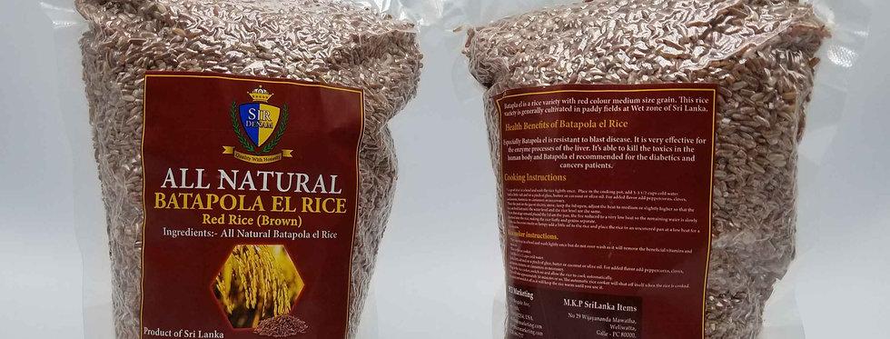 All Natural Batapola el Red Rice (Brown) 2 lb - Vacuum packed