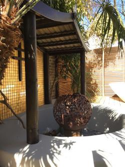 Oriental style gazebo with fire pit