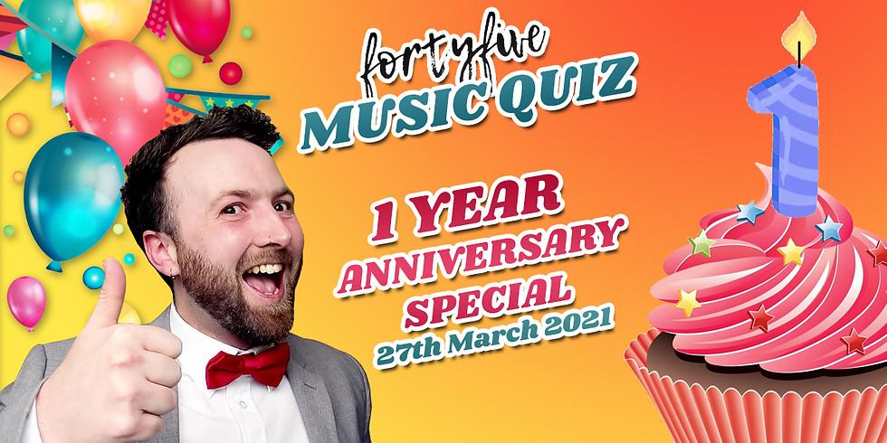 FortyFive Live Music Quiz: Lockdown Anniversary Special