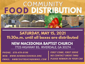 Community Food Distribution | New Macedonia Baptist Church  | Riverdale, GA | Clayton County, GA