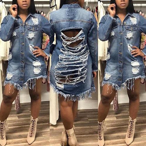 Boyfriend Style Women Slim Denim Coat Long Sleeve Casual Jean Jacket Outerwear