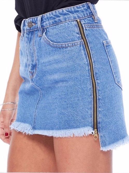 Loren Zip Denim Skirt