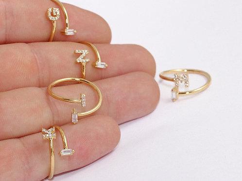Baguette Initial Ring