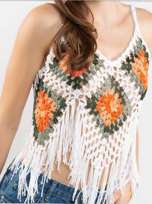 Peggy Fringe Crochet Top