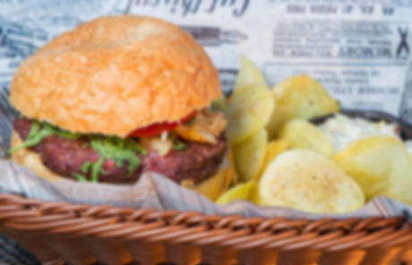Meat Burger and Chips
