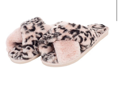 Pink Leopard Fuzzy Slippers
