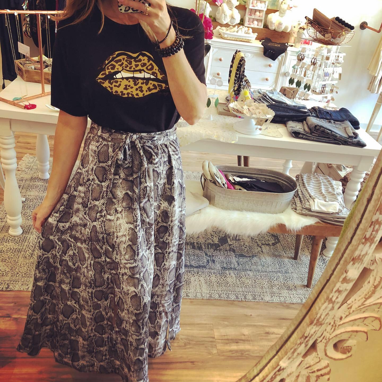 Fallon Skirt & Leopard Lips Top