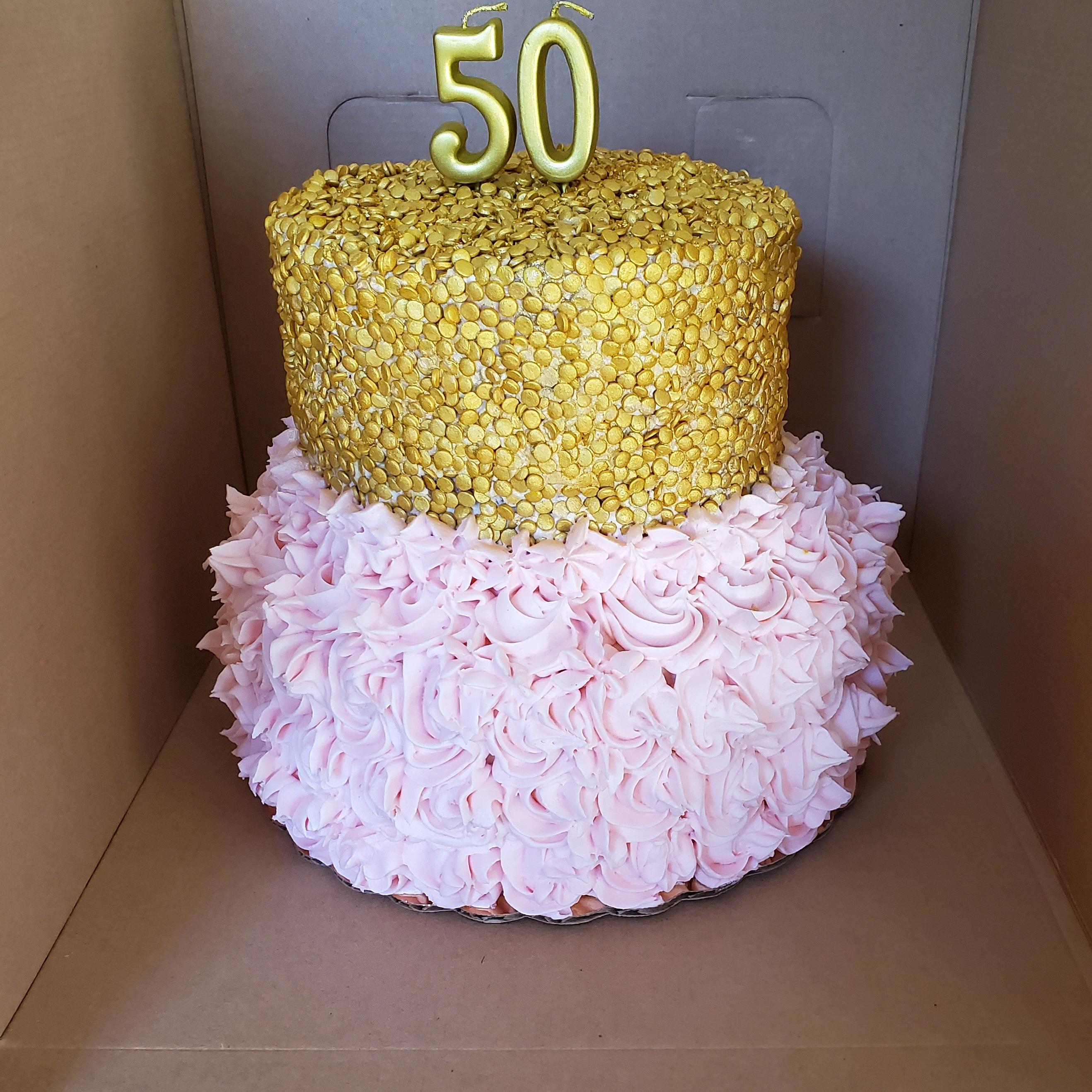 Custom 2 tiered Cake