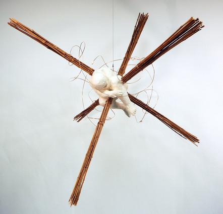 Intersection, wood, bamboo, paper, and carta pesta, 4 feet x 4 feet
