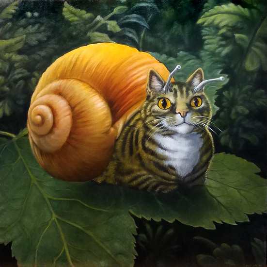 SnailCat 2018. Oil on canvas 24x24