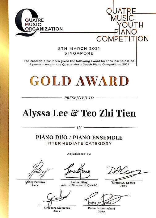 Gold Award- Alyssa Lee and Teo Zhi Tien