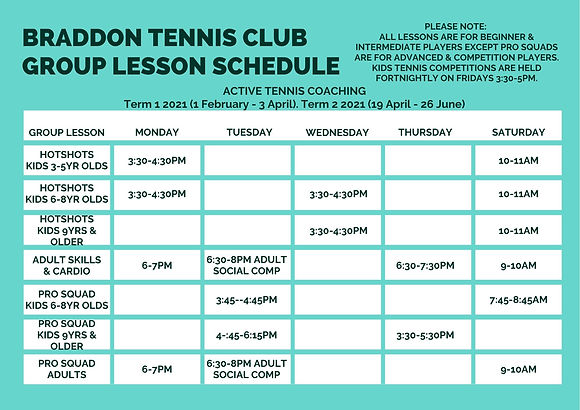 Braddon Tennis Club Group Lesson Schedul