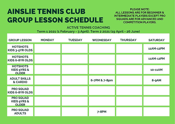 Ainslie Tennis Club Group Lesson Schedul