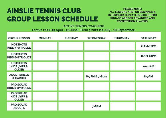 Ainslie Tennis Club Group Lesson Schedul