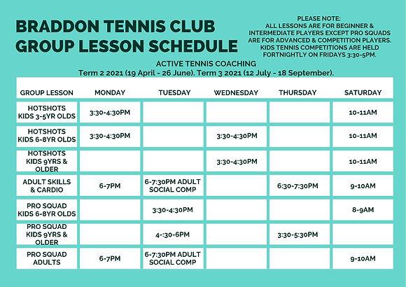 Braddon Tennis Club Group Lesson Schedul