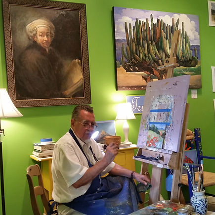 Sergio July 6 2016 at easel with Poppy F