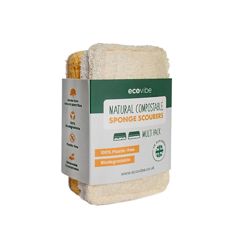 Compostable sponge & scourer duo pack by Ecovibe