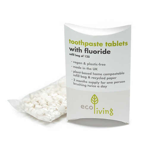 Toothpaste tabs with fluoride (refill pack of 125) by Ecoliving
